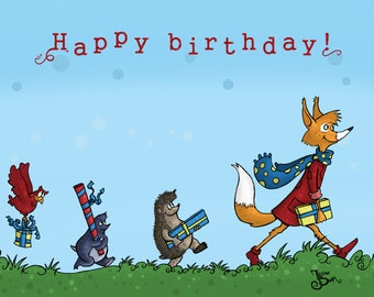 Card Happy Birthday, postcard birthday, postcard A6, postcard Fox, postcard child's birthday, card