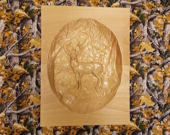 Deer Decor, Deer Wall Decor, Rustic Deer, Rustic Home Decor, Wood Carving, Wood Wall Art, Buck Wall Decor, Wood Decor, CNC, Panel Carved Art