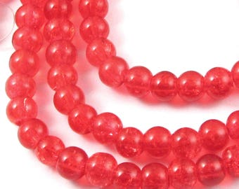 Round Glass Crackle Beads-BRIGHT RED 6mm (100 Pcs)