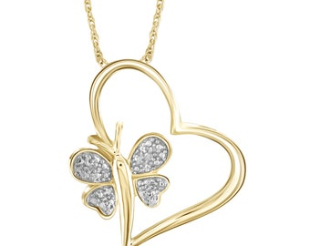 White Diamond Accent 14kt Gold Over Silver Heart And Butterfly Pendant