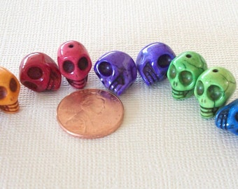 SKULLS Pairs of Multi Colored Howlite Stone Beads (10 Pieces)