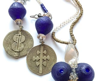 Handmade wearable art necklace, Art jewelry, Spiritual art, Sacred jewelry, PrairBeads, African jewelry, Unique jewelry, Statement jewelry
