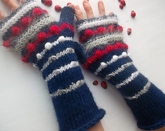 Women L 20% OFF Ready To Ship Accessories Fingerless Mittens Striped Warm Wrist Warmers Gloves Hand Knitted Crochet Winter Arm Cabled 1041