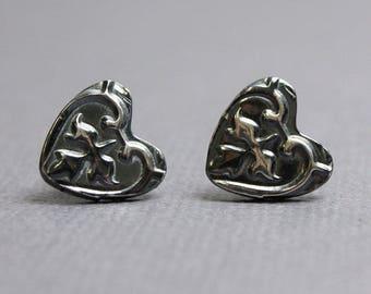 Sterling Silver Heart Stud Earrings, Heart Earrings, Heart Studs, Stud Earrings, Handmade Silver Stud Earrings, Heart Jewelry, Silver Studs