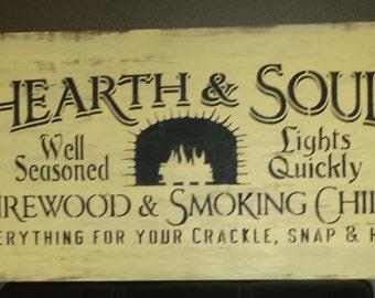 HEARTH AND SOUL/Vintage Fireplace Sign/Fall Sign/Hostess/Housewarming Gift/Cabin Sign