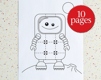 Robot Colouring Pages, Robots Colouring book, Downloadable Colouring Pages, Instant Download, Printable Children's Activity,