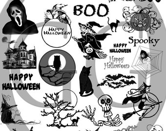 Decals for Glass and Ceramic - Sepia Decals for Fused Glass - Halloween 3