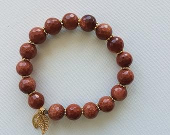 Goldstone bracelet stretchy bracelet gemstone jewelry NZ00038
