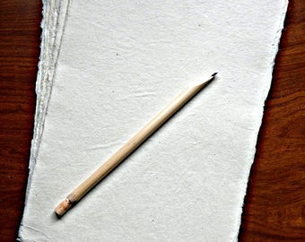 Deckle Edge Paper, Handmade Paper, A4 Size, Ivory Colour, Art paper, 100% Plant Fiber