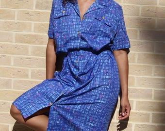 Blue Vintage Shirt Dress Size Medium to Large 80's Shirt Dress Blue Vintage Dress 14  80s Dress 16 Button Down Dress Medium to Large