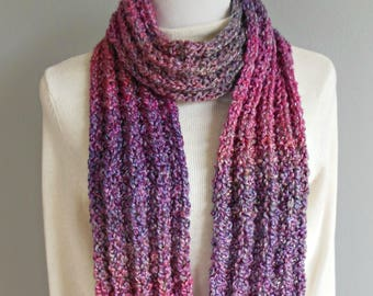 Ribbed Knit Multicolored Plum Purple Raspberry Gray Pink Long Scarf Hand Knit Warm Fashion Scarf