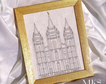 Salt Lake Temple  - Cross Stitch Pattern - Instant Download