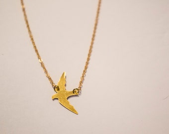 Raw Brass Sparrow Bird Necklace