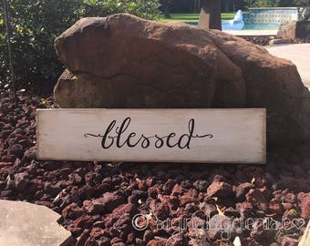 "Ready-to-Ship BLESSED Sign, Inspirational Sign - 24"" x 5-1/2"" x 1/2"" SignsbyDenise"