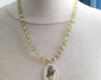 Charteuse Victorian Lady Necklace