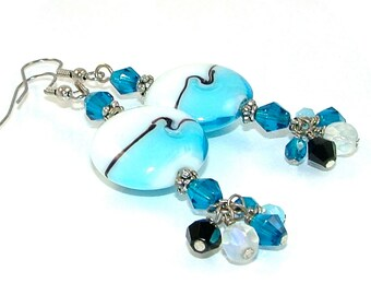 MAJOR MARKDOWN - Aqua White Wave Glass Torch Bead and Crystal Dangle Statement Earrings
