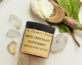 Whipped Body Butter -  Essential oil - White Chocolate + Peppermint - Shea Butter + Cocoa Butter 4oz All Natural Preservative Free lotion