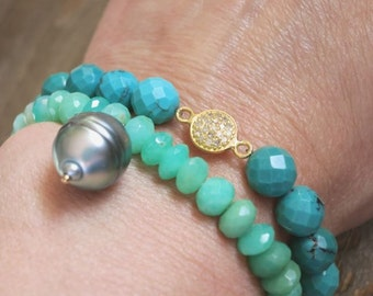 Tahitian pearl bracelet with chrysoprase,gorgeous green chrysoprase bracelet,coachella festival style tahitian pearl, stacking, boho, beachy