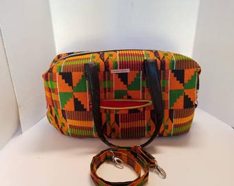Kente cloth and Vegan leather (trim) Carry on/weekend bag with passport holder