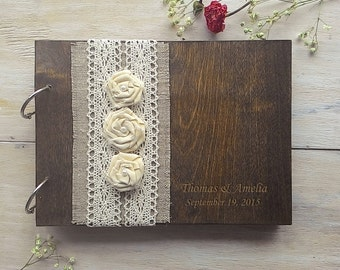 Wooden Guestbook, Wedding Guest Books, Burlap Lace guest book Rustic GuestBook, Custom wedding guestbook, Rustic Wedding Guest Book