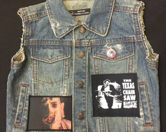 Distressed Leatherface and Texas Chainsaw Massacre patch vest