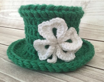 Leprechaun hat, St Patricks day hat, Green hat, High top hat, Party hat, St Pattys day hat, Crochet hat, Clover leaf hat