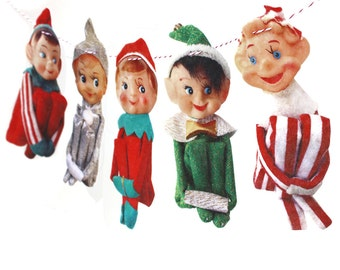 Vintage Christmas Elves Banner - photo reproductions on felt - vintage Knee-Hugger Elf Garland - kitsch Christmas