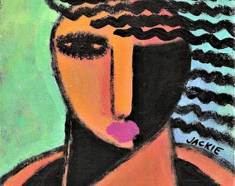 Funky Abstract Portrait of a Woman Hand Painted on Ceramic Tile
