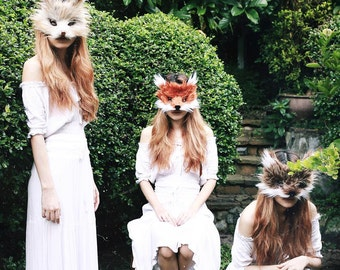 Faux Fur Mountain Rabbit Mask, handmade