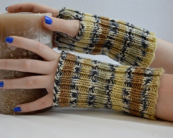 Fingerless Gloves, Fingerless Mittens, Striped, Unisex, Hand Knit, Teen & Adult, Hand Warmers,