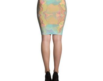 Blurry Print  Pencil Skirt