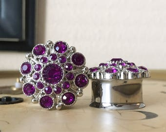 CLEARANCE: Dark Purple, Vintage Styled Rhinestone Plugs, gauges   7/8, 1 inch