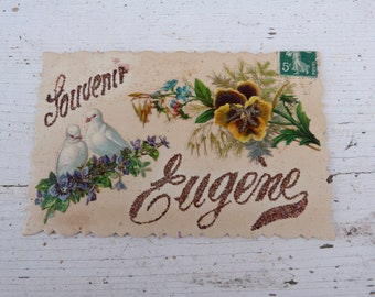 Vintage Antique 1900s embossed die cut glittered postcard  Doves & flower bouquet