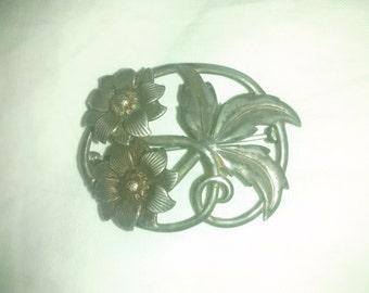 Vintage Brooch , Sterling , Floral Vines , Silver Pin