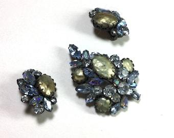 Vintage Signed Regency Rhinestone and Pearl ClipOn Earrings and Brooch Set