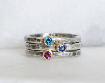 London Topaz Stacking Ring - Size 7 - 3mm Topaz 18k Yellow Gold and Sterling Silver