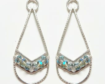 Sterling Silver and Labradorite Crystal Chevron/ Tribal earrings