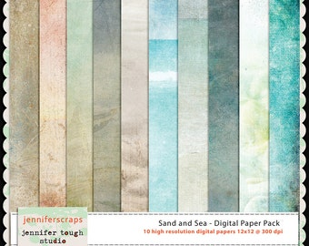 Instant Download - Set of 10 digital papers - Sand and Sea