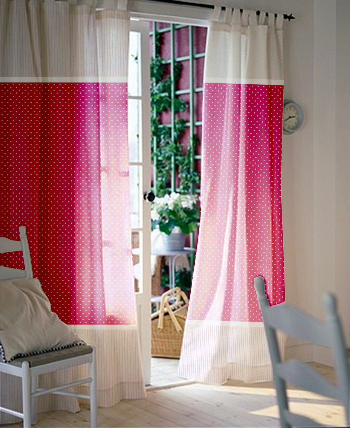 interesting curtains and paris cotton posh ideas in dots valentine shower pink curtain polka white