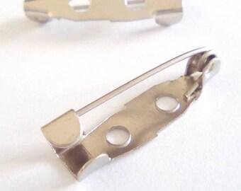 10 blank silver 20x5mm brooch pins