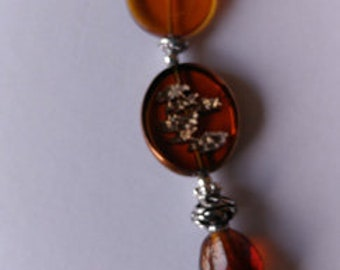 Eye glass Necklace - Brown beads