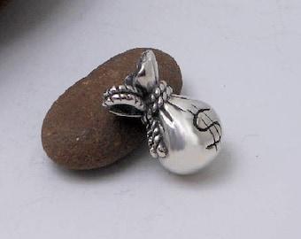 Heavy Solid 3D Handcraft Sterling Silver Money Bag Charm,Money Pouch Pendant,Money Bag Charm,Bracelet Charm,Money Bag Pendant,Gifts For Her