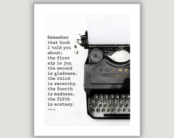 Jack Kerouac Quote, gift for writer, book lover gift, office art, library wall art, vintage typewriter, graduation gift, black and white