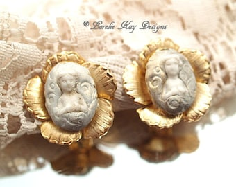 Frozen Charlotte Doll Clip Earrings Tiny Charlotte Dolls  Whimsical Flower Doll Earrings Lorelie Kay Original