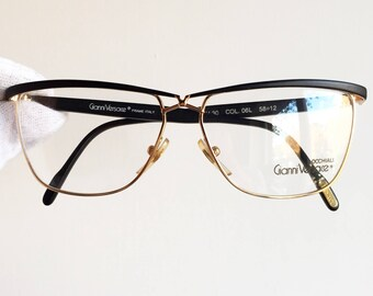 VERSACE vintage eyewear rare eyeglasses Sunglasses gold black oval square angular Gianni V30 New NOS
