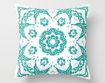 Abstract Mandala Pillow  - Teal and White - Modern Flower Medallion Throw Pillow - Accent Pillow - Decorative Pillow - By Aldari Home
