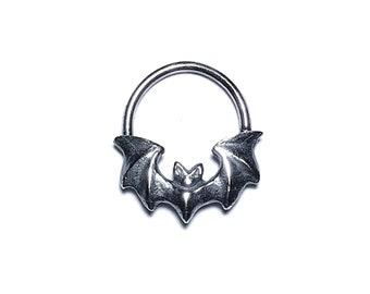 Mini Vampira septum ring / earring in oxidized sterling silver (Art Deco goth Bat)