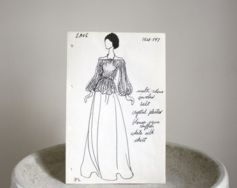 Vintage Fashion Sketch c. 1960s Andre Laug 8 1/2 x 13 inches