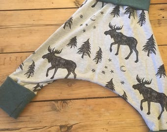 Green and grey moose/ organic cotton jersey baby/ toddler harem pants/ maxaloones/ trousers 6 months to 3 years