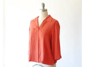 vintage salmon pink silk blouse / size large